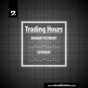 Trading Hours Sticker