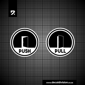 Push and Pull Door Disc Stickers