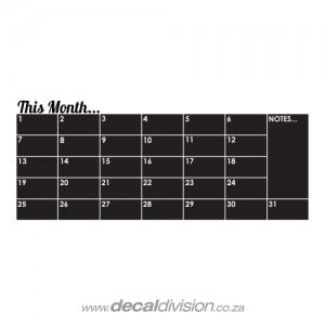 Monthly Calendar Chalkboard Sticker