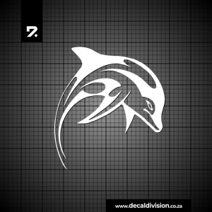 Glass Window Sticker - Tribal Dolphin