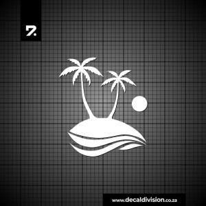Glass Window Sticker - Island Palm Tree