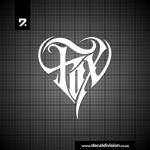 Fox Tribal Heart Sticker