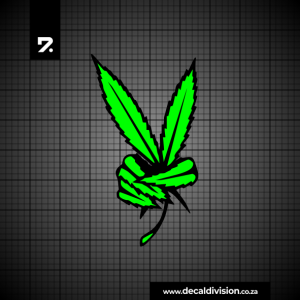 Peace Sign Sticker - Weed Leaf