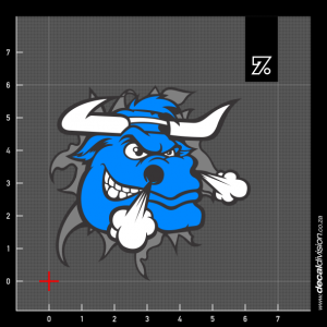 Blue Bull Head Sticker