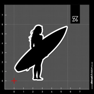 Surfer Silhouette Sticker - Girl