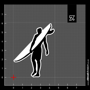 Surfer Silhouette Sticker